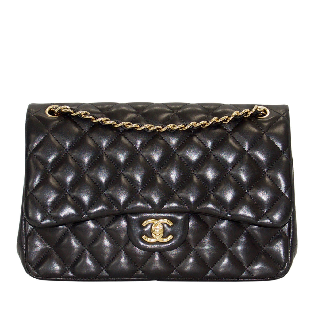 Chanel Black Lambskin Classic Jumbo Double Flap Bag Bags Chanel