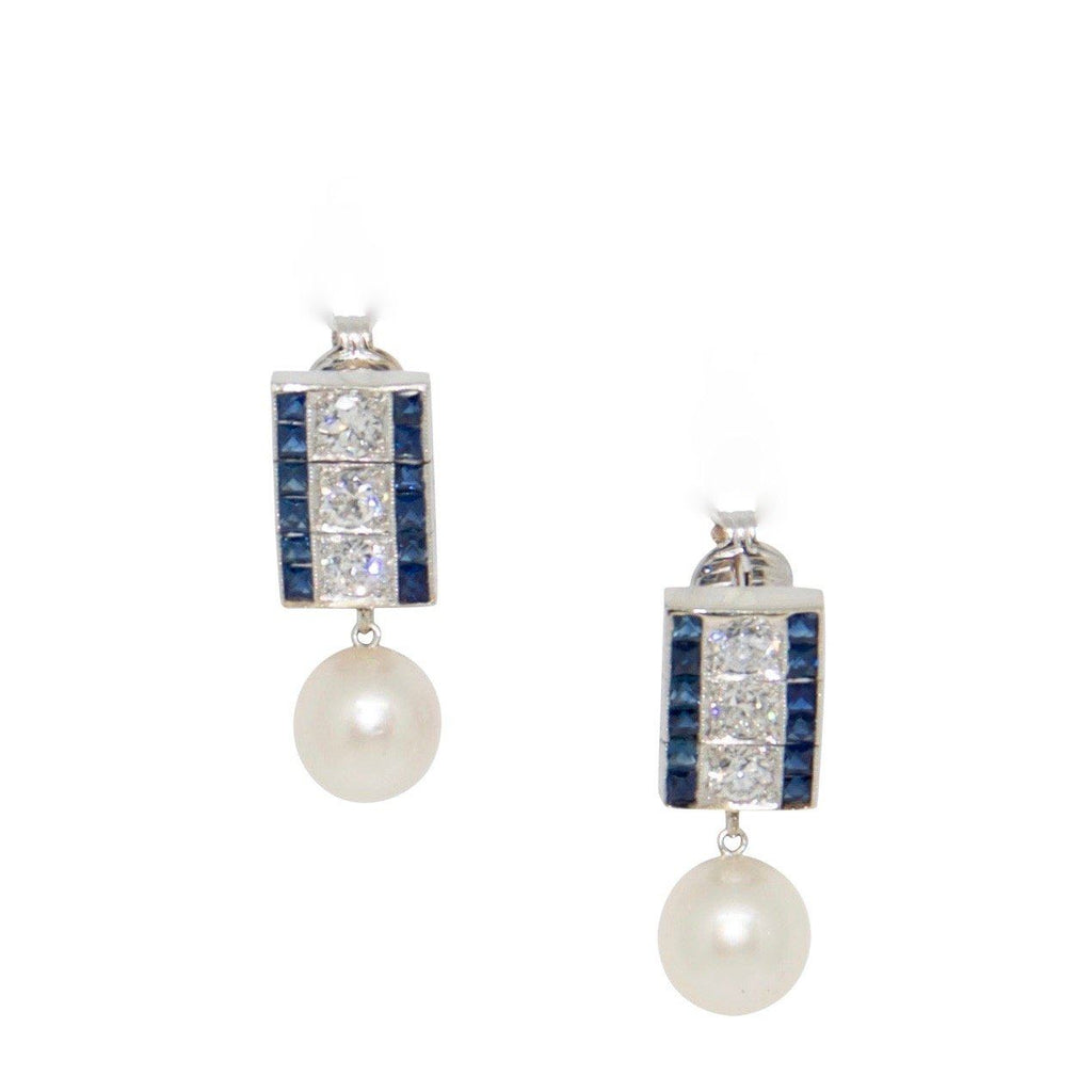Antique Sapphire, Diamond, and Pearl Drop Earrings Earrings Antiques