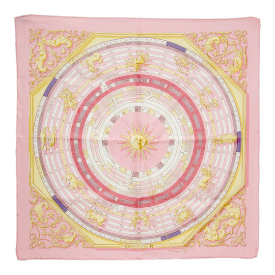 "Hermes ""Dies Et Hore"" Silk Pocket Square"