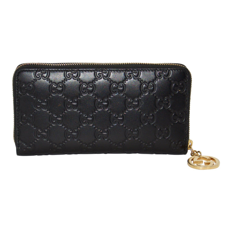 Gucci Black Guccissima Icon Signature Zip-Around Wallet