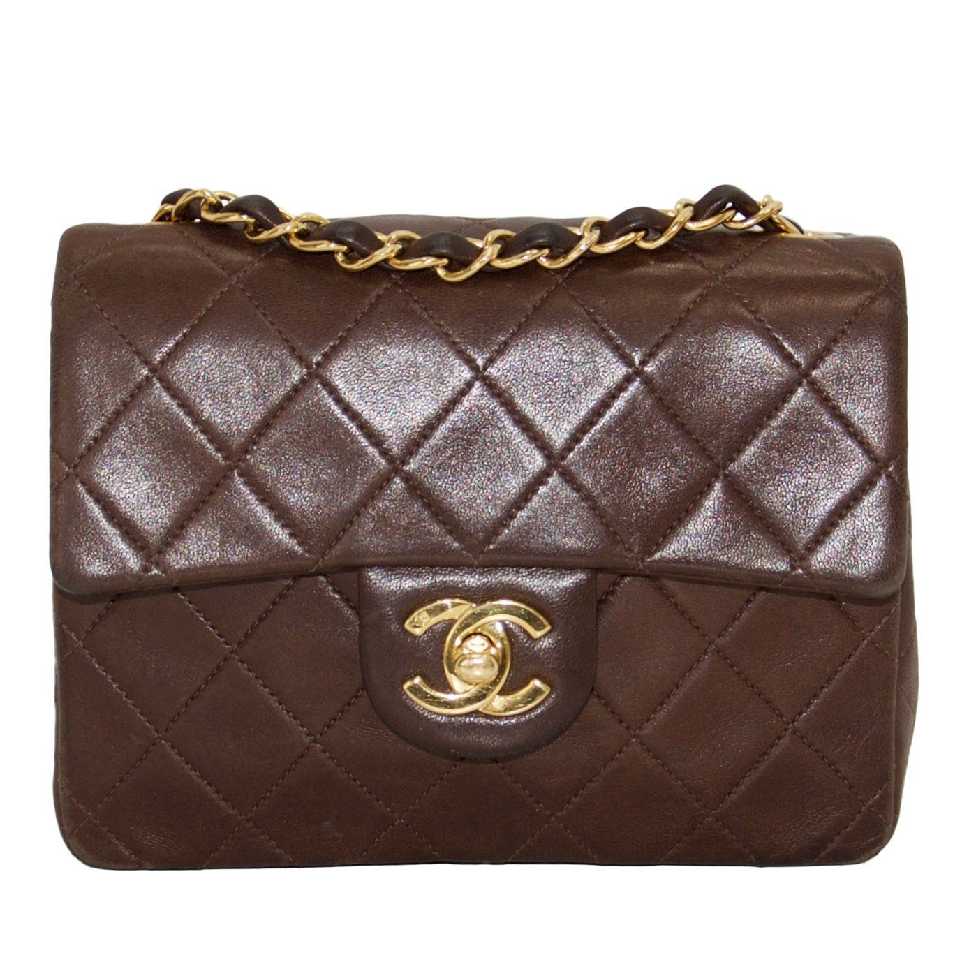 outlet store hottest sale great discount sale Chanel Vintage Chocolate Brown Lambskin Classic Mini Square Flap Bag