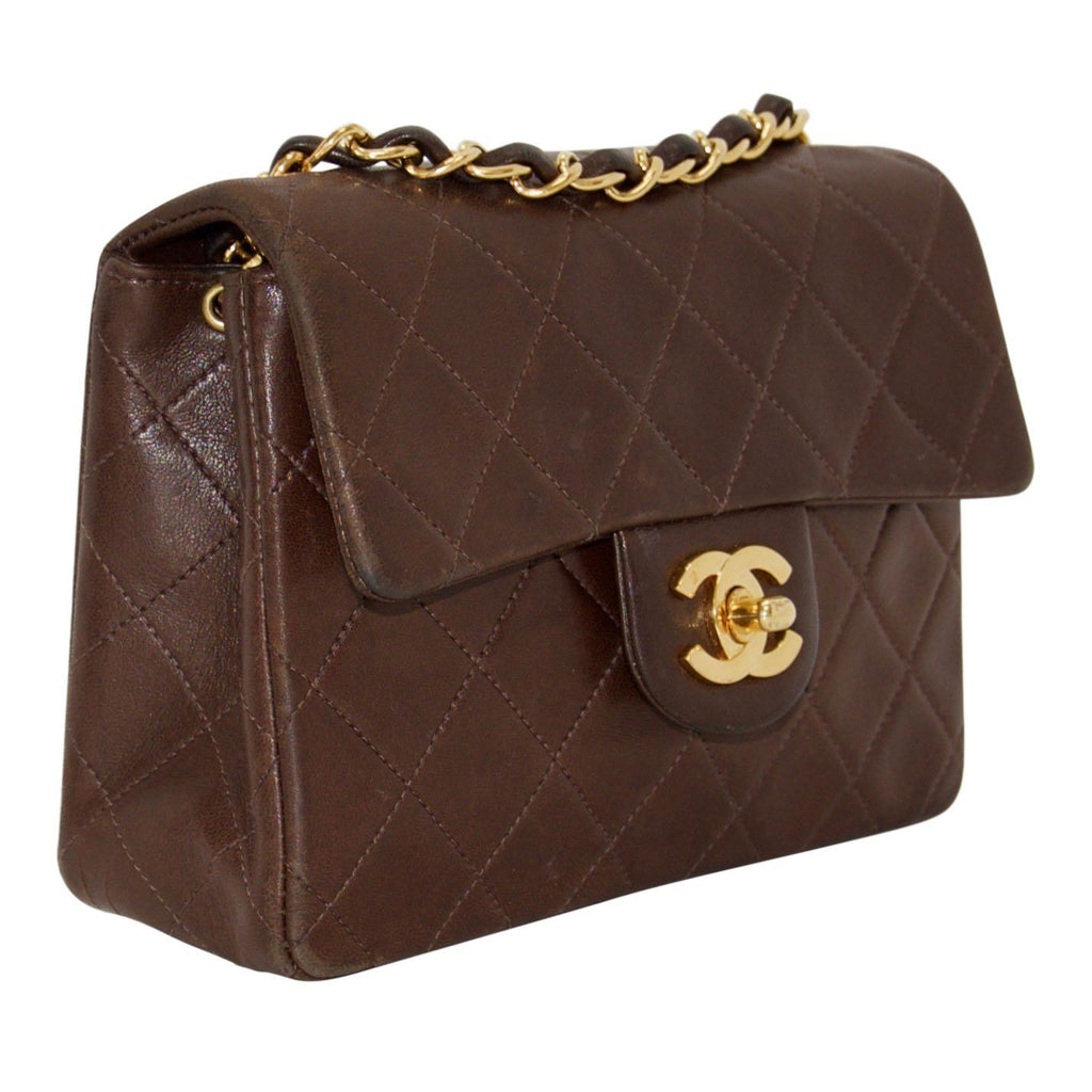 Chanel Vintage Chocolate Brown Lambskin Classic Mini Square Flap Bag
