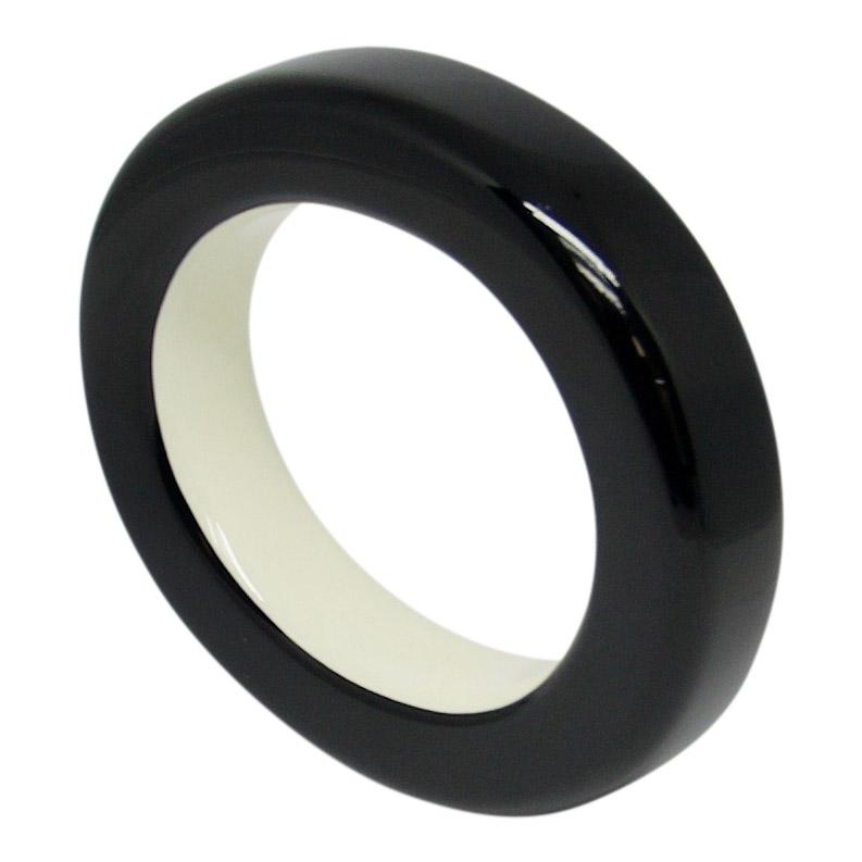 Hermes Ariodante Black Lacquered Wood Bangle Bracelets Hermes