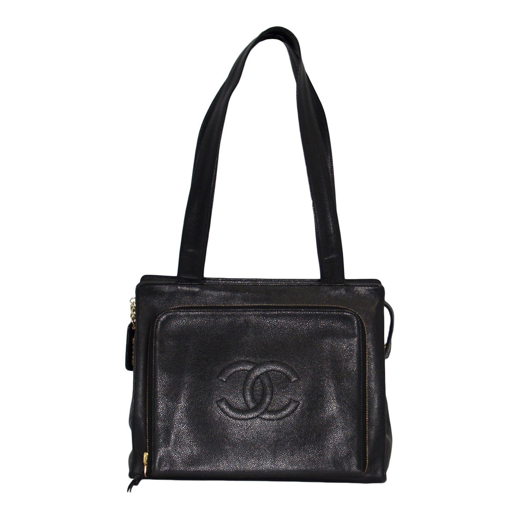 Chanel Vintage Black Caviar Leather Shoulder Bag