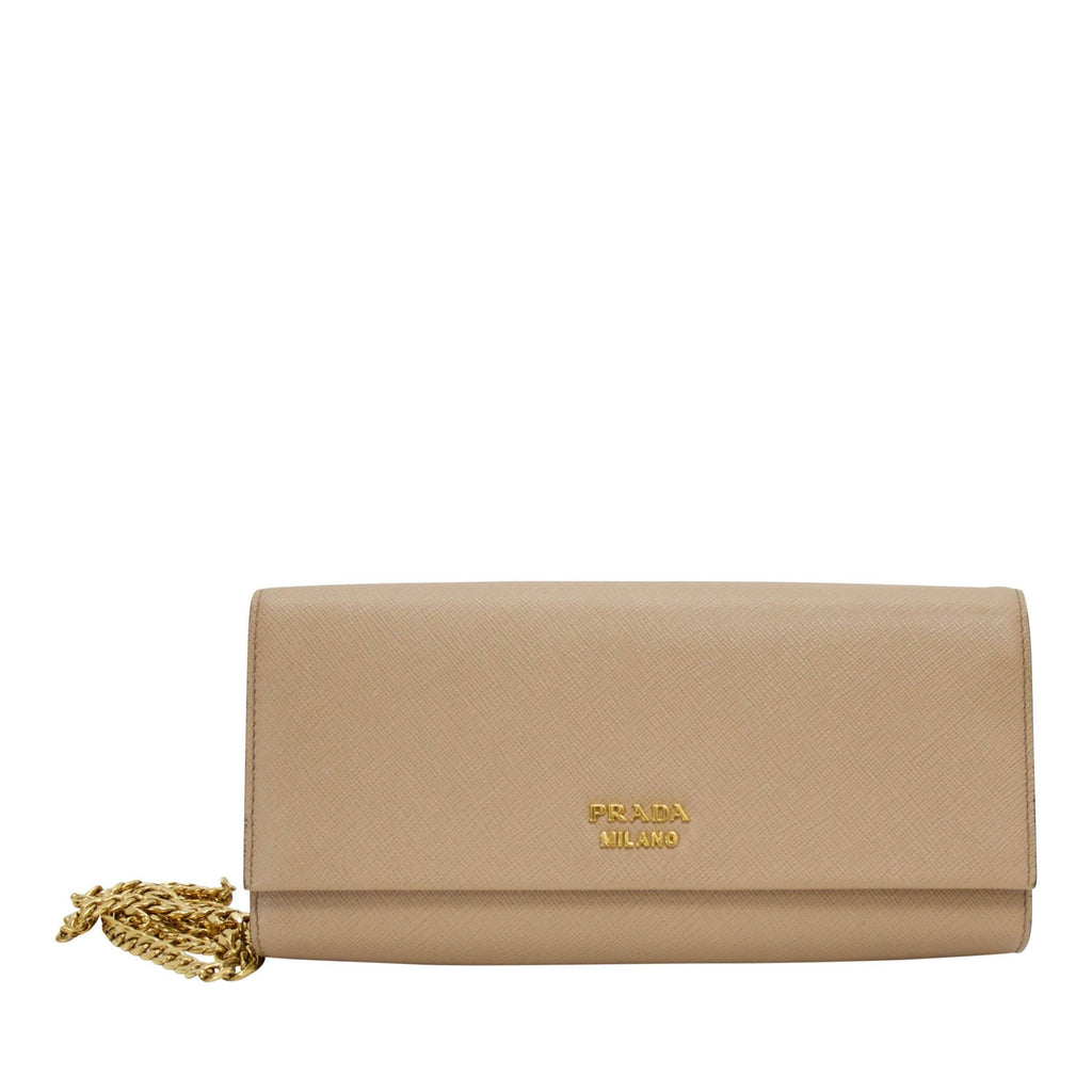Prada Saffiano Frame Clutch with Chain Bags Prada