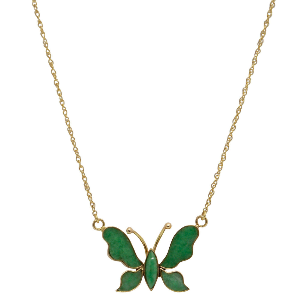 Jade Butterfly Pendant Necklace - Necklaces