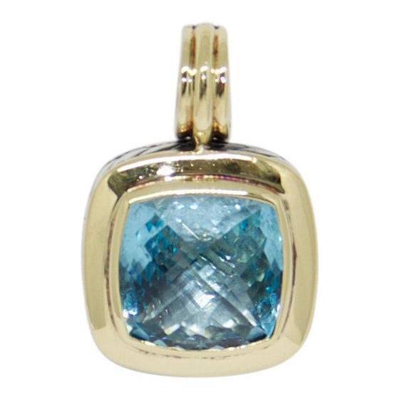 David Yurman Two-Tone Blue Topaz Albion Pendant Charms & Pendants David Yurman