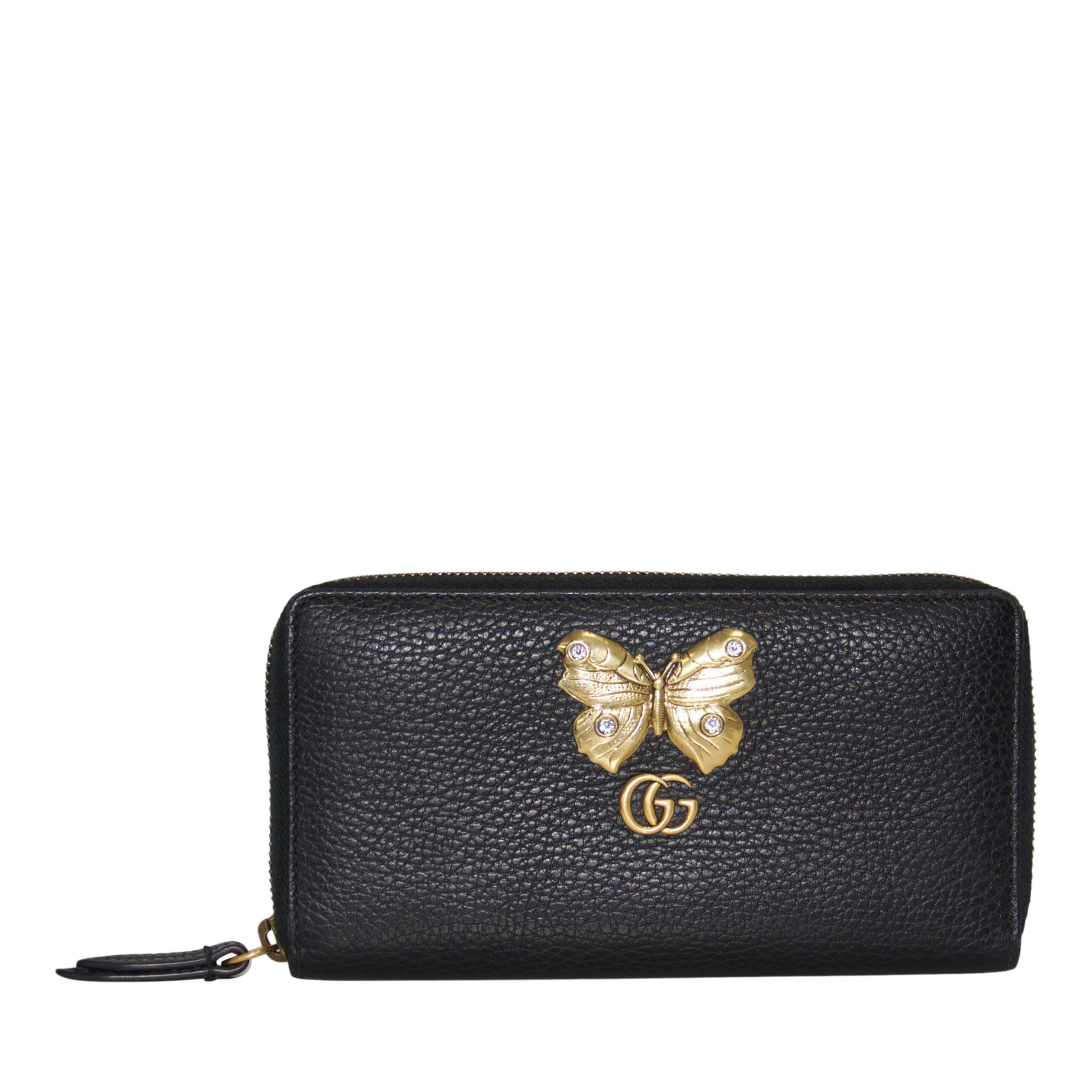 4bf5fcd80d27 Gucci Black Leather Zip-Around Wallet with Butterfly Wallets Gucci ...