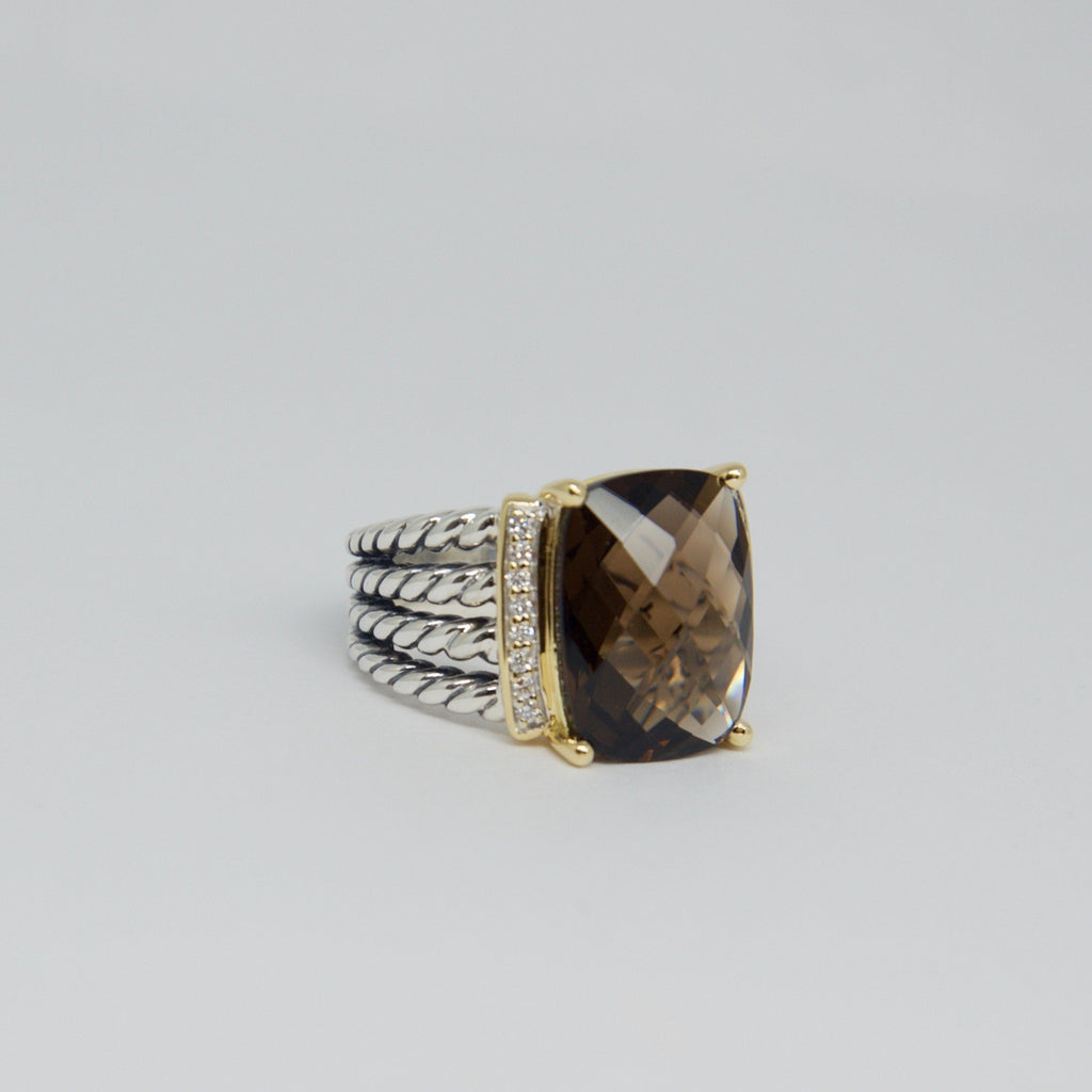 David Yurman Smoky Quartz And Diamond Wheaton Ring - Rings
