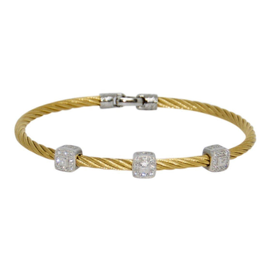 Charriol Diamond Three Station Cable Bracelet Bracelets Charriol