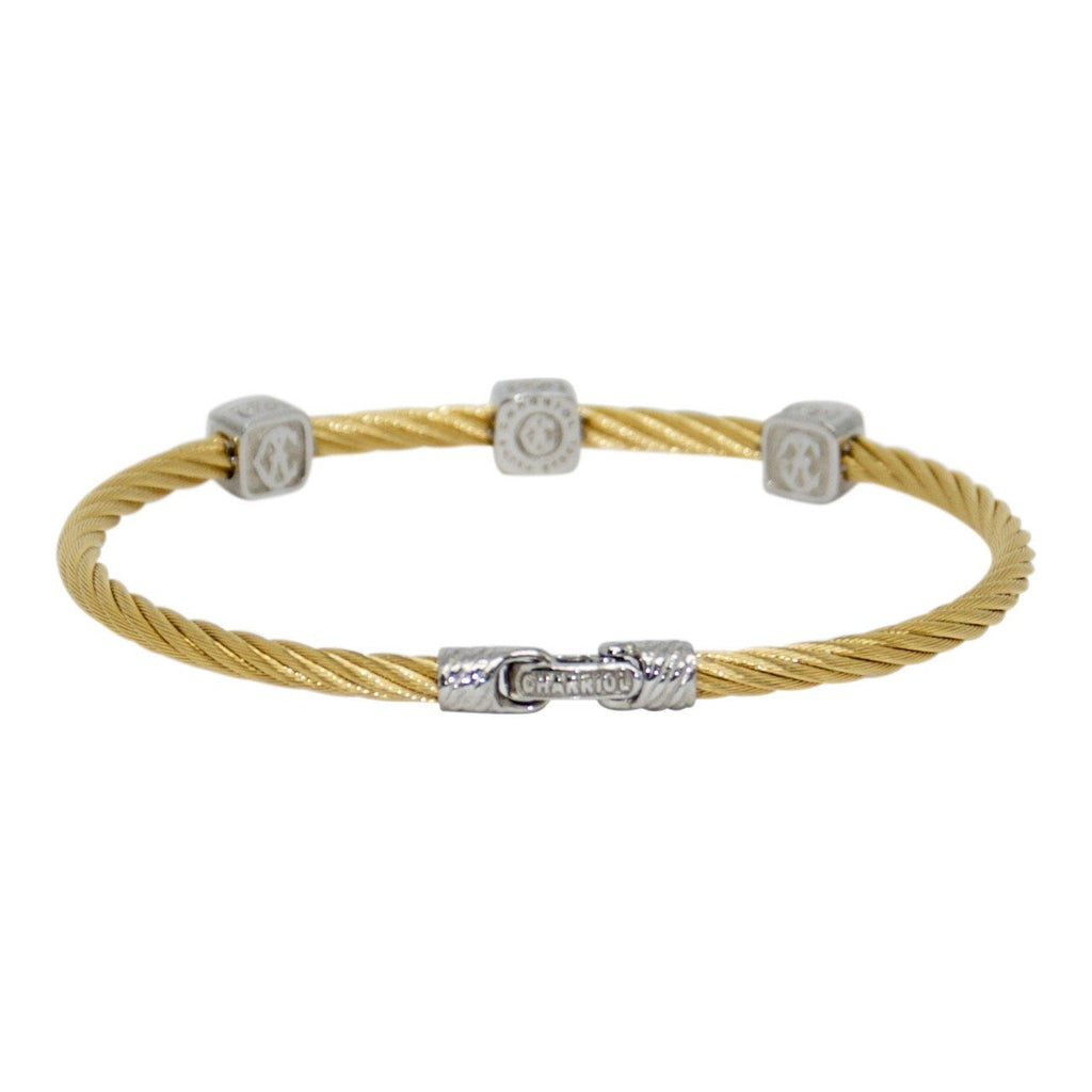 Charriol Diamond Three Station Cable Bracelet