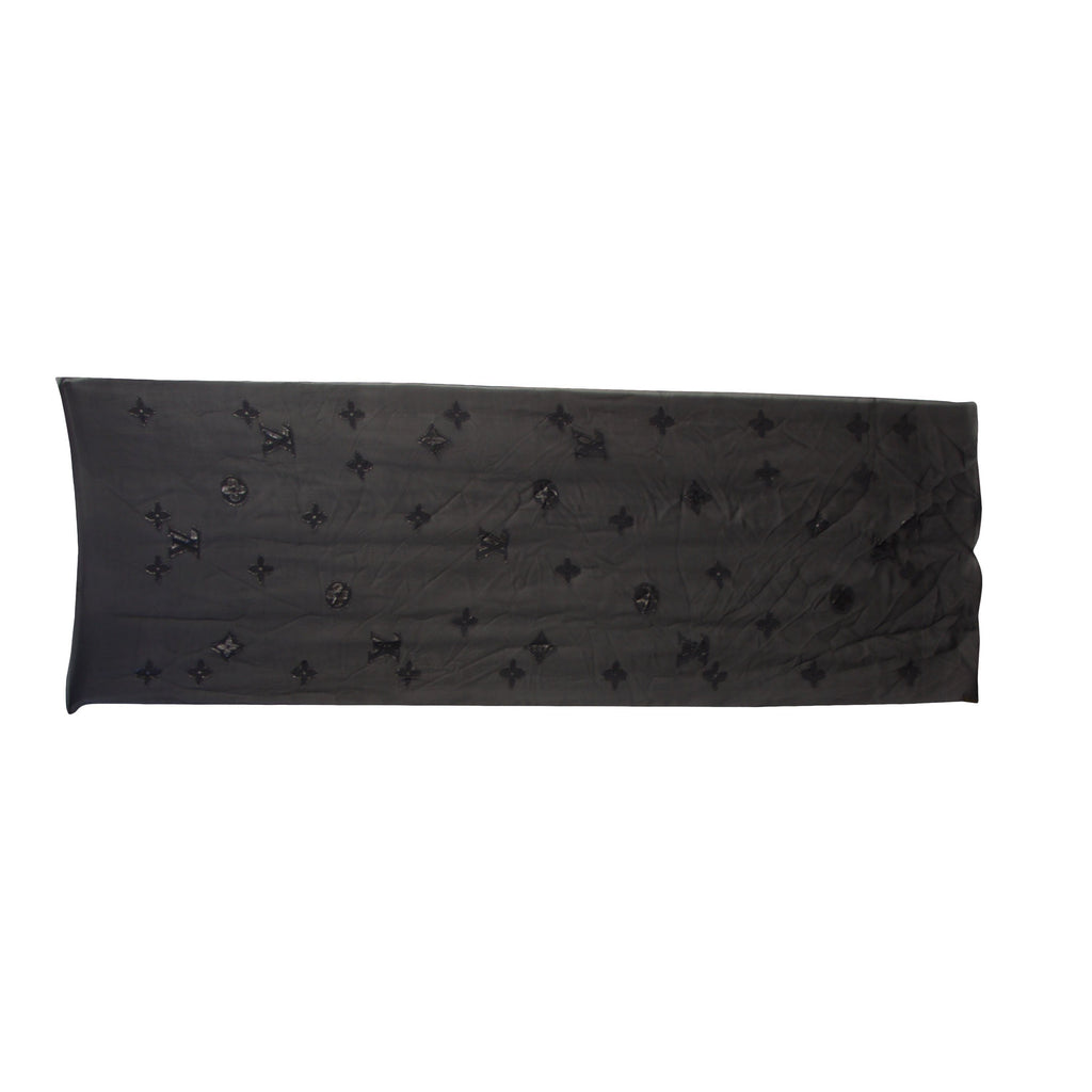 Louis Vuitton Black Monogram Silk Chiffon Scarf