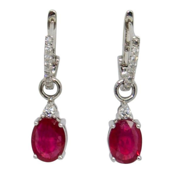 Ruby and Diamond Drop Earrings Earrings Miscellaneous