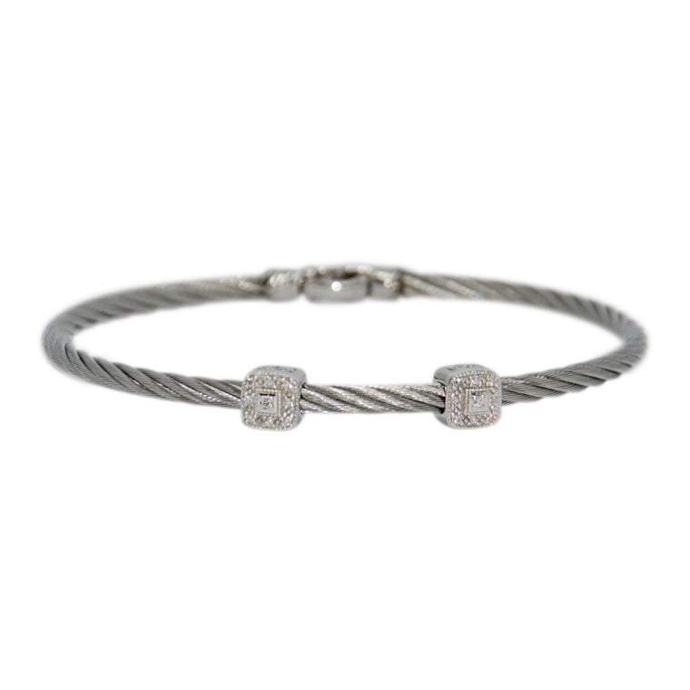 Charriol Diamond Two Station Cable Bracelet Bracelets Charriol