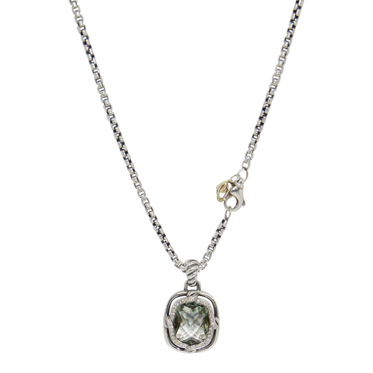 David Yurman Prasiolite and Diamond Pendant Necklace