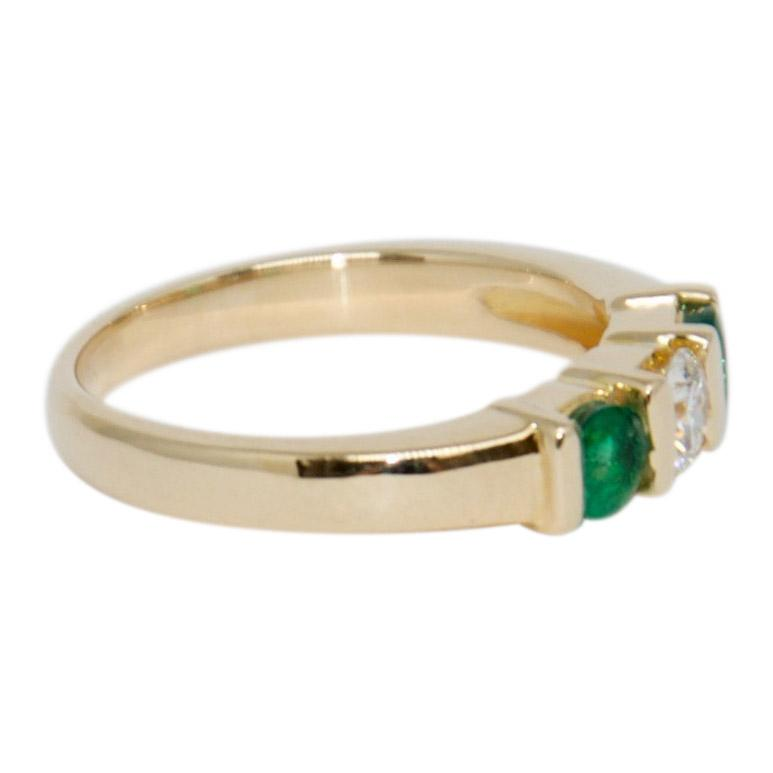 Emerald and Diamond Three Stone Ring Rings Miscellaneous