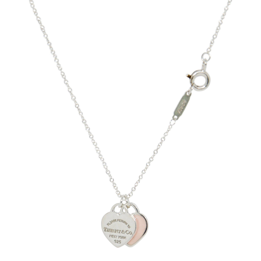 Tiffany & Co. Return To Tiffany Mini Double Heart Tag Pendant Necklace With Pink Enamel - Necklaces