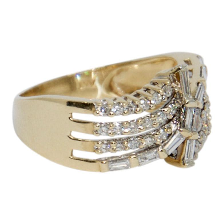Four-Row Baguette and Round Cut Diamond Ring Rings Miscellaneous