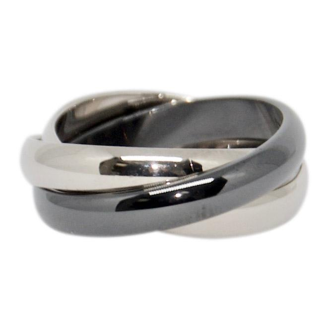 Cartier Trinity Rolling Ring White Gold & Black Ceramic - Rings