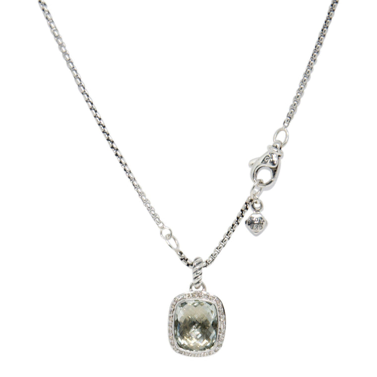 David Yurman Noblesse Pendant Necklace with Prasiolite and Diamonds