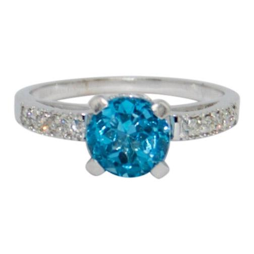Blue Topaz and Diamond Cocktail Ring Rings Miscellaneous