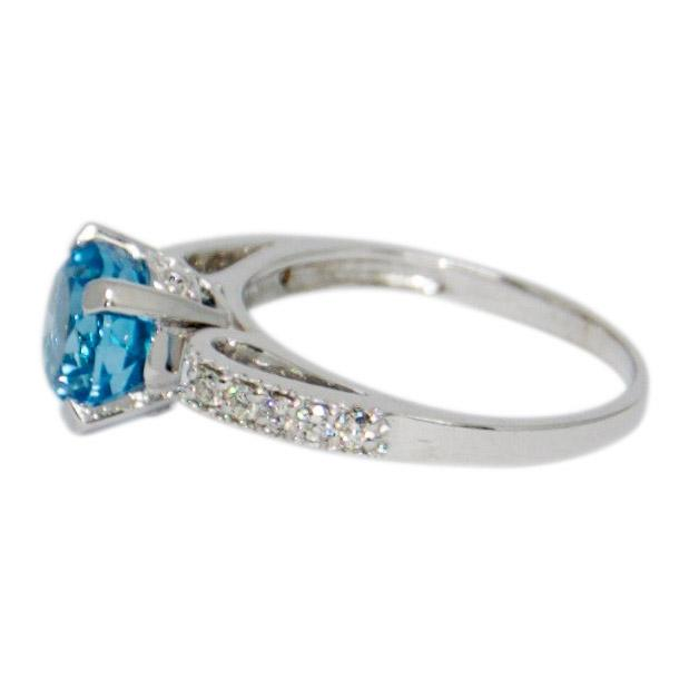 Blue Topaz And Diamond Cocktail Ring - Rings