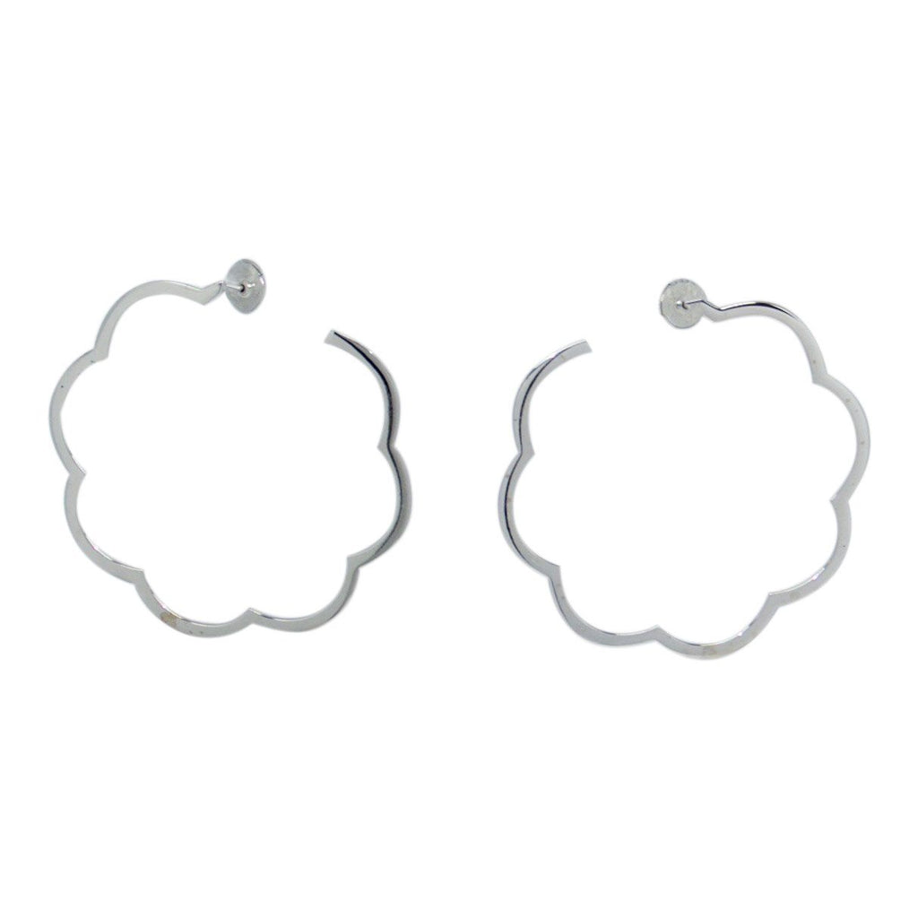 Chanel 18k Profil De Camelia Hoop Earrings