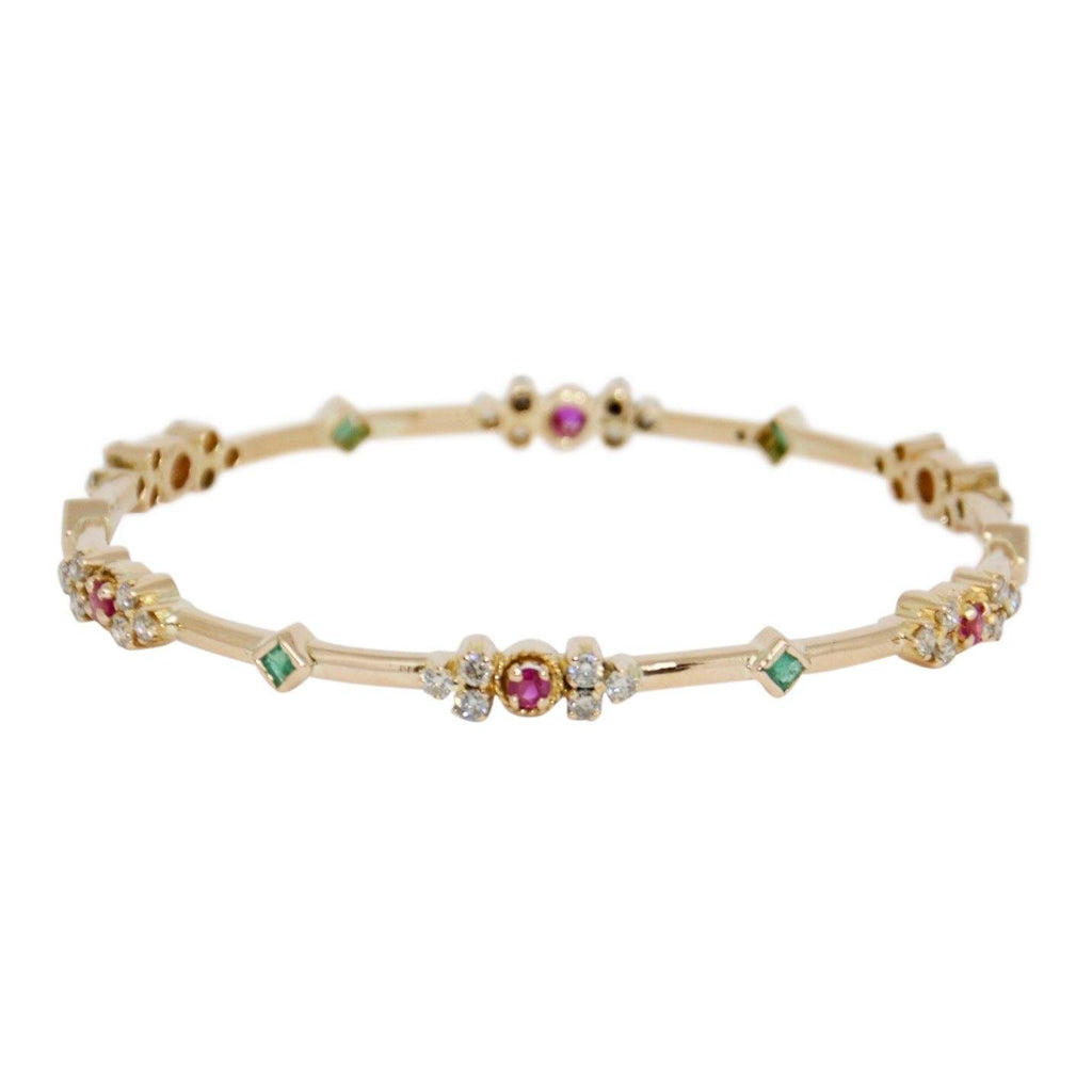 Coloured Stones and Diamond Bangle Bracelet