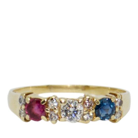 Ruby, Sapphire, and Diamond Cocktail Ring