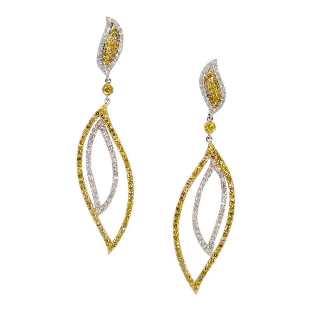 Yellow And White Diamond Drop Earrings - Earrings