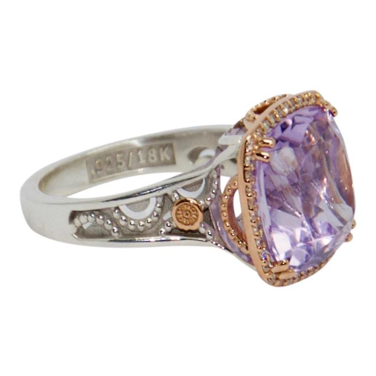 Tacori Pave Crescent Ceiling Ring with Rose Amethyst and Diamonds Rings Miscellaneous