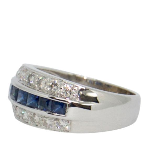 Three-Row Sapphire and Diamond Cocktail Ring Rings Miscellaneous