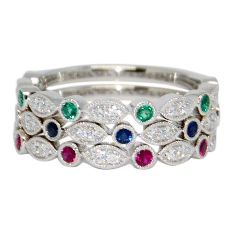 Coloured Stone And Diamond Band Ring Set - Rings