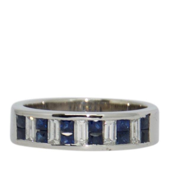 Sapphire and Diamond Band Ring Rings Miscellaneous