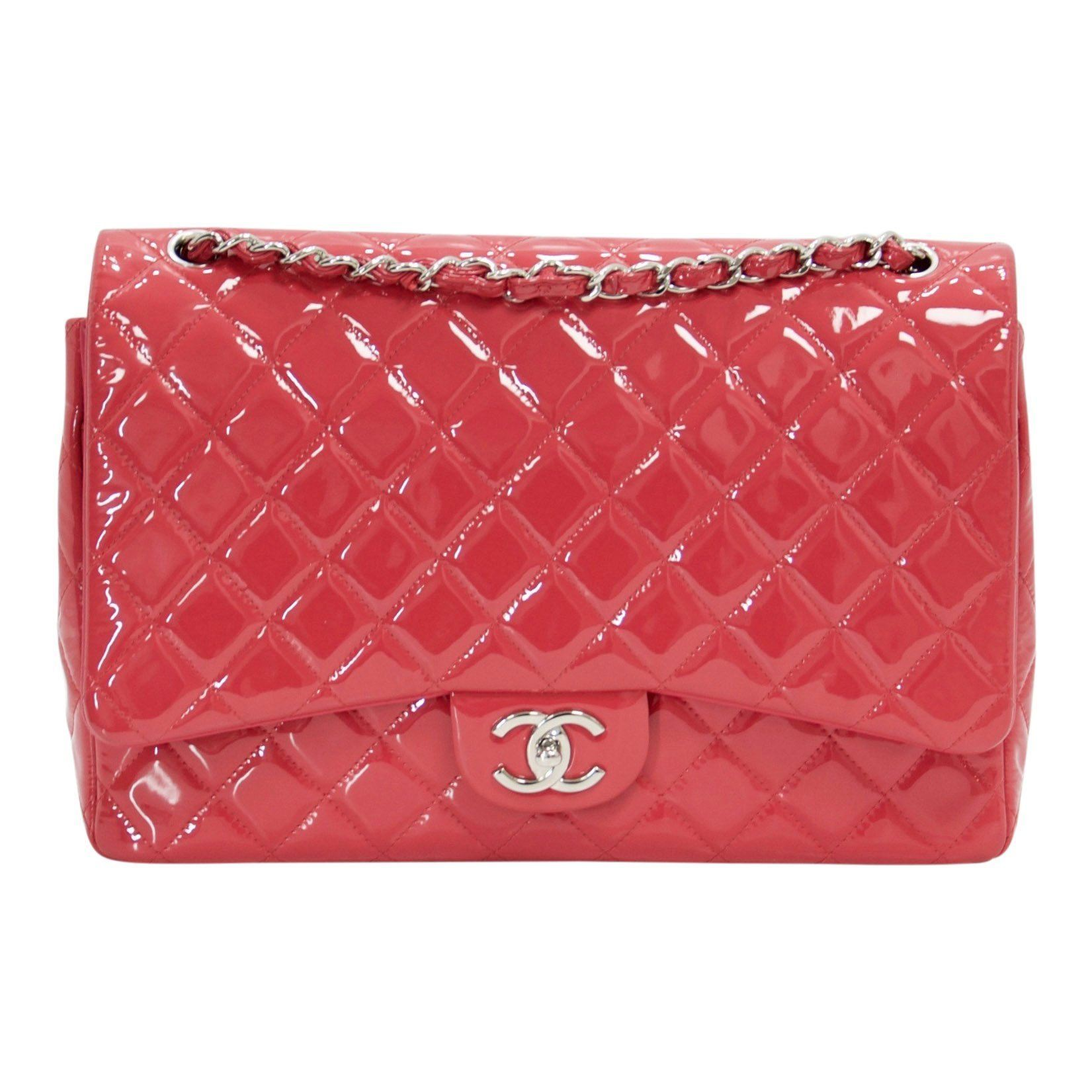 8a6b2b2ed6da9f Chanel Pink Patent Leather Classic Maxi Double Flap Bag Bags Chanel ...