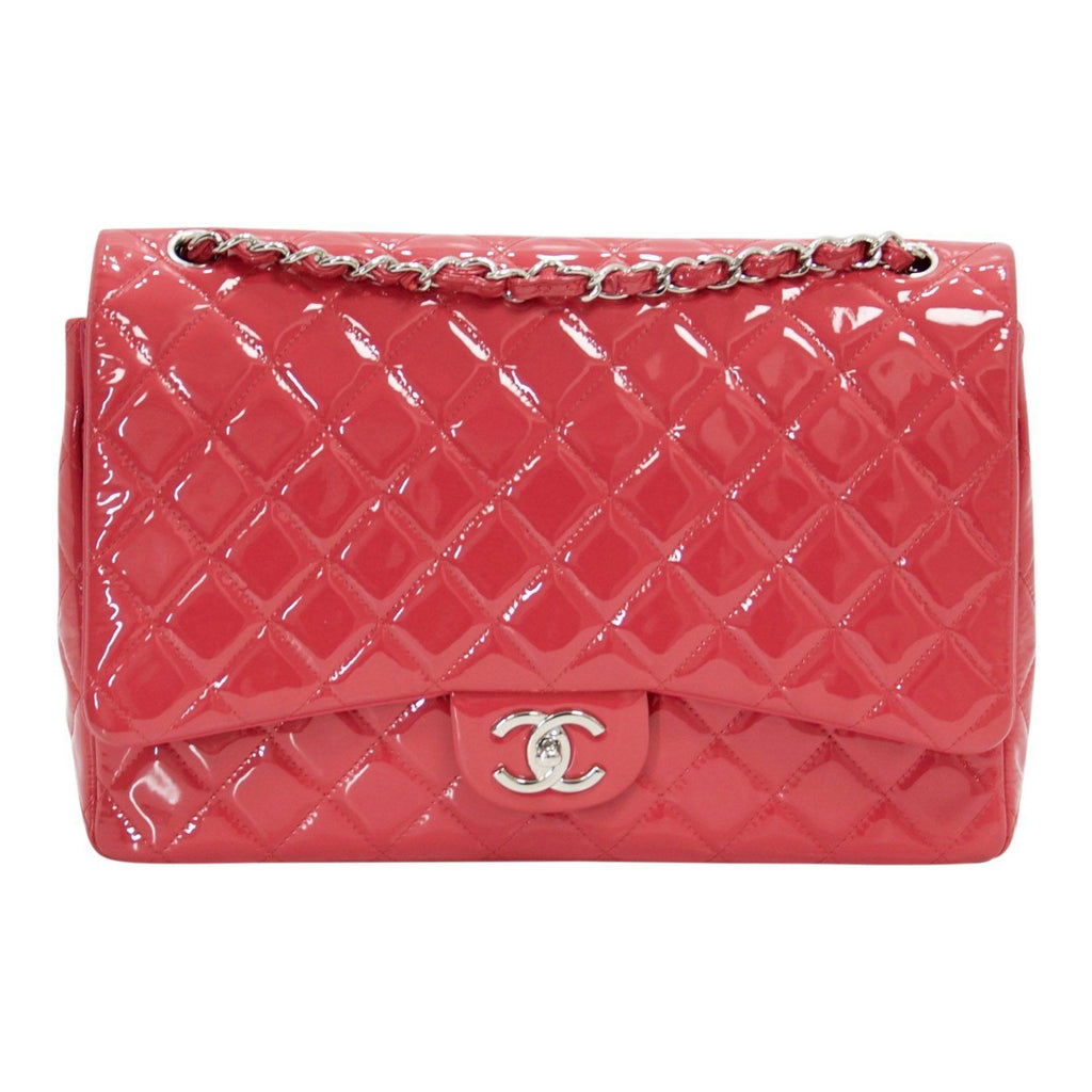 Chanel Pink Patent Leather Classic Maxi Double Flap Bag Bags Chanel