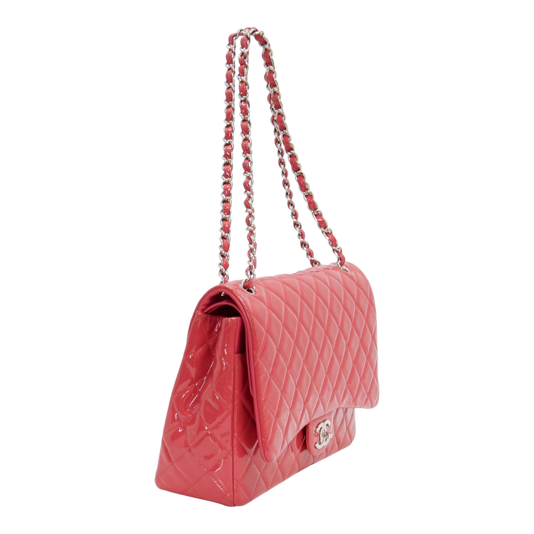 3594bb9a6821 ... Chanel Pink Patent Leather Classic Maxi Double Flap Bag - Bags ...
