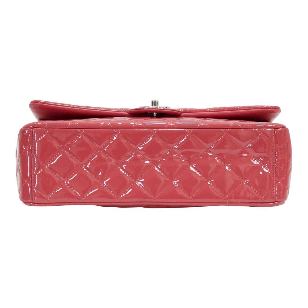 Chanel Pink Patent Leather Classic Maxi Double Flap Bag - Bags