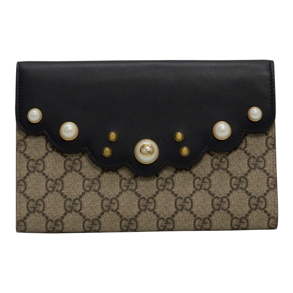 Gucci GG Canvas Supreme Pearl Studded and Black Leather Clutch