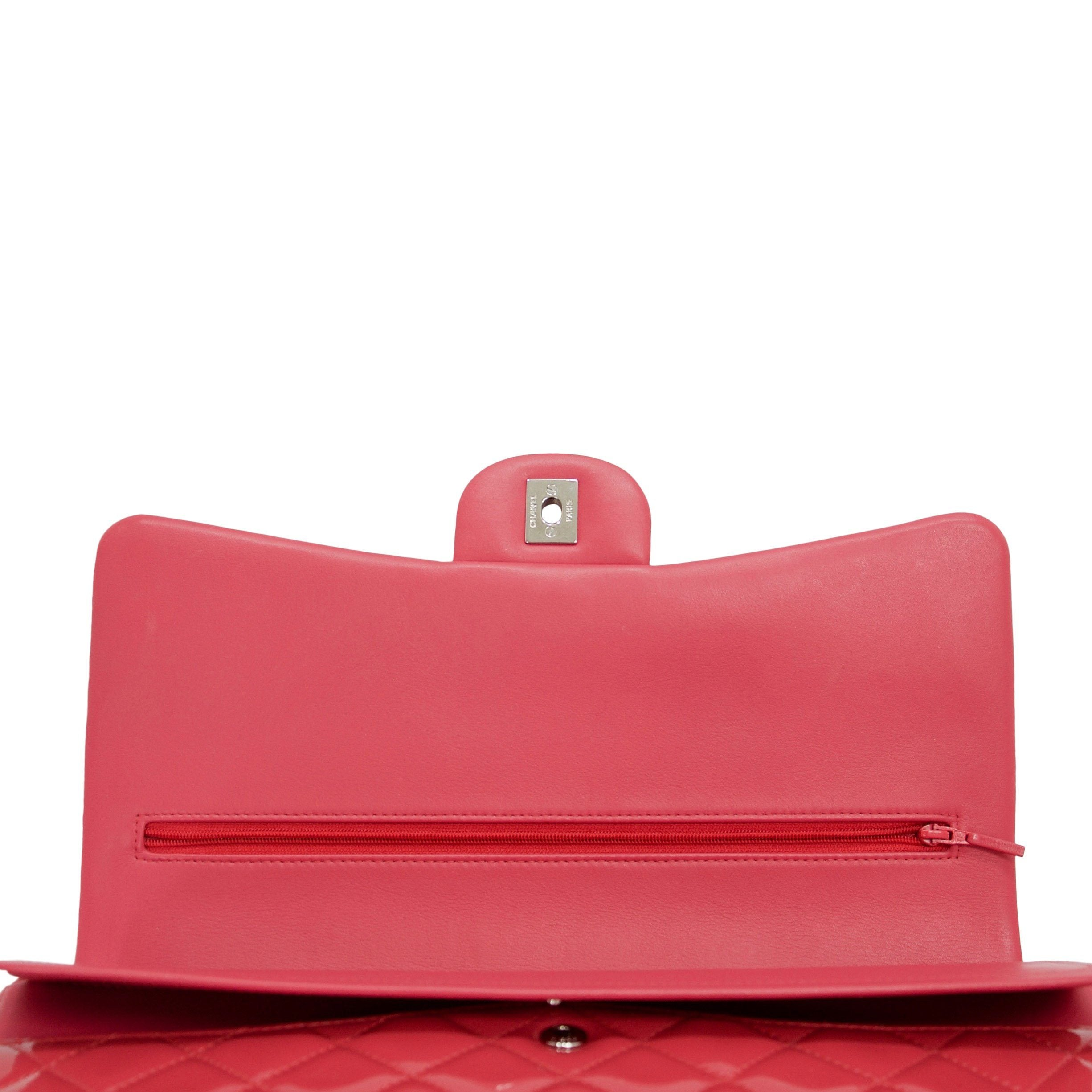 7bfdb06f7021dc ... Chanel Pink Patent Leather Classic Maxi Double Flap Bag Bags Chanel ...