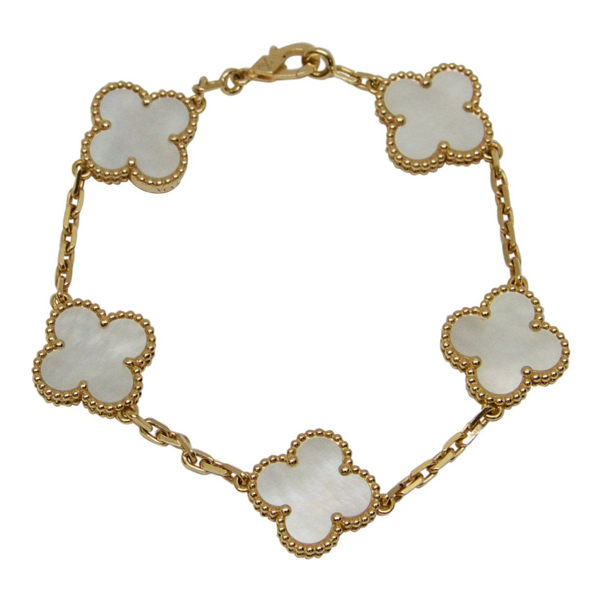 0a91686d30 Van Cleef   Arpels Vintage Alhambra Bracelet With Mother Of Pearl -  Bracelets ...