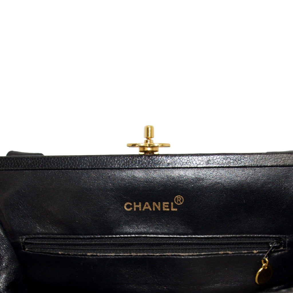Chanel Vintage Black Caviar Frame Top CC Satchel Bag Bags Chanel
