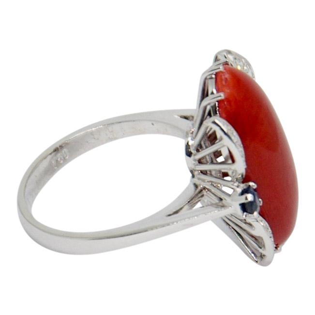 Coral And Diamond Cocktail Ring - Rings