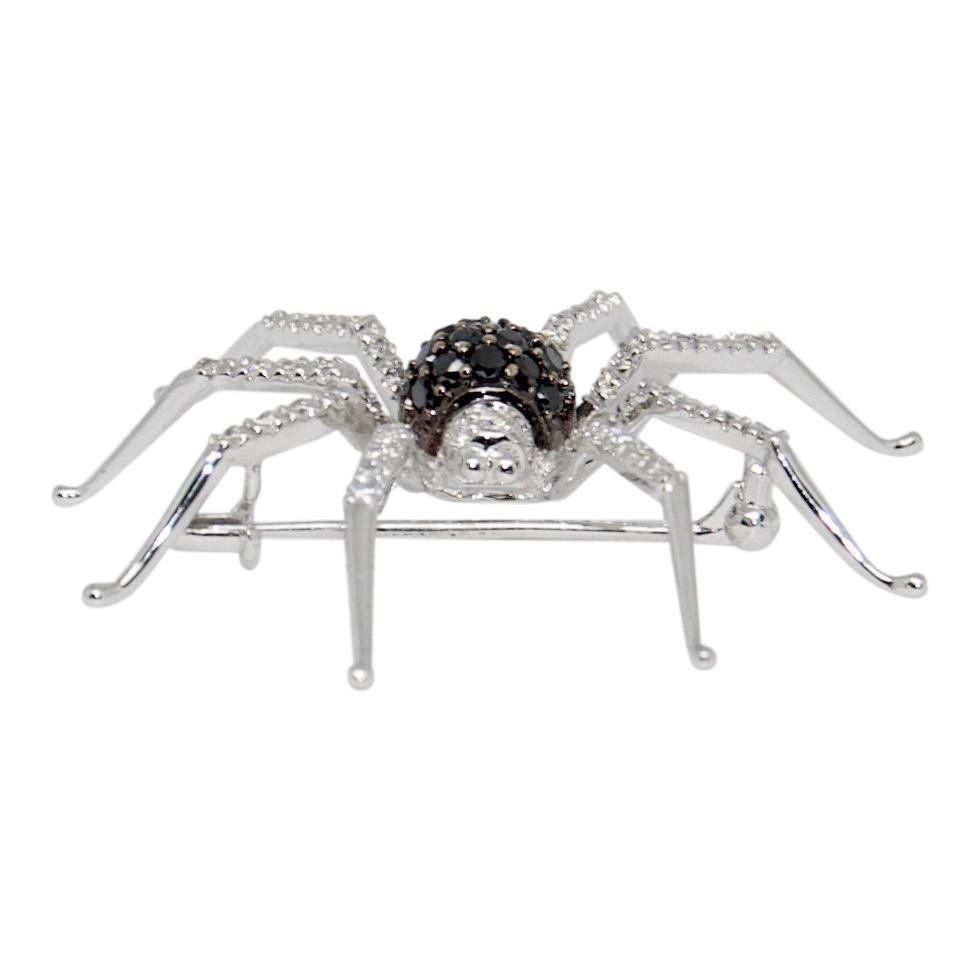 Black And White Diamond Spider Brooch - Brooches & Pins