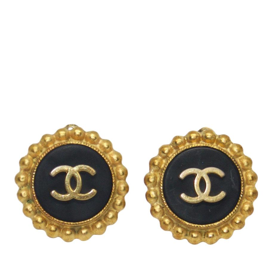 Chanel Vintage Black Enamel CC Logo Clip-On Earrings Earrings Chanel