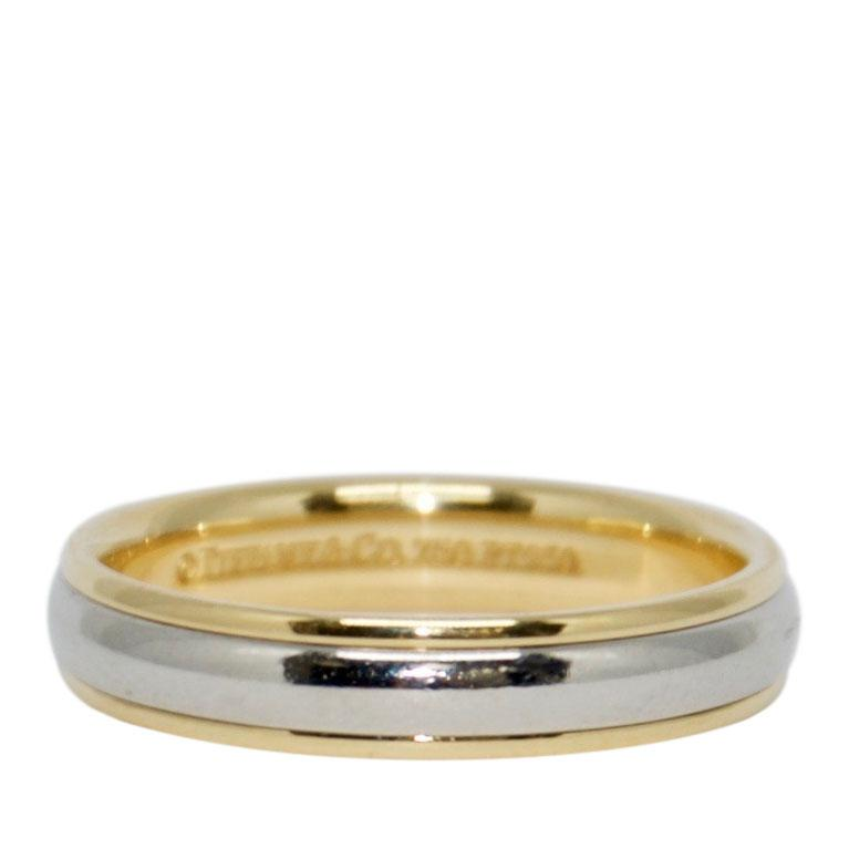 Tiffany & Co. Platinum & Gold Classic Wedding Band Ring