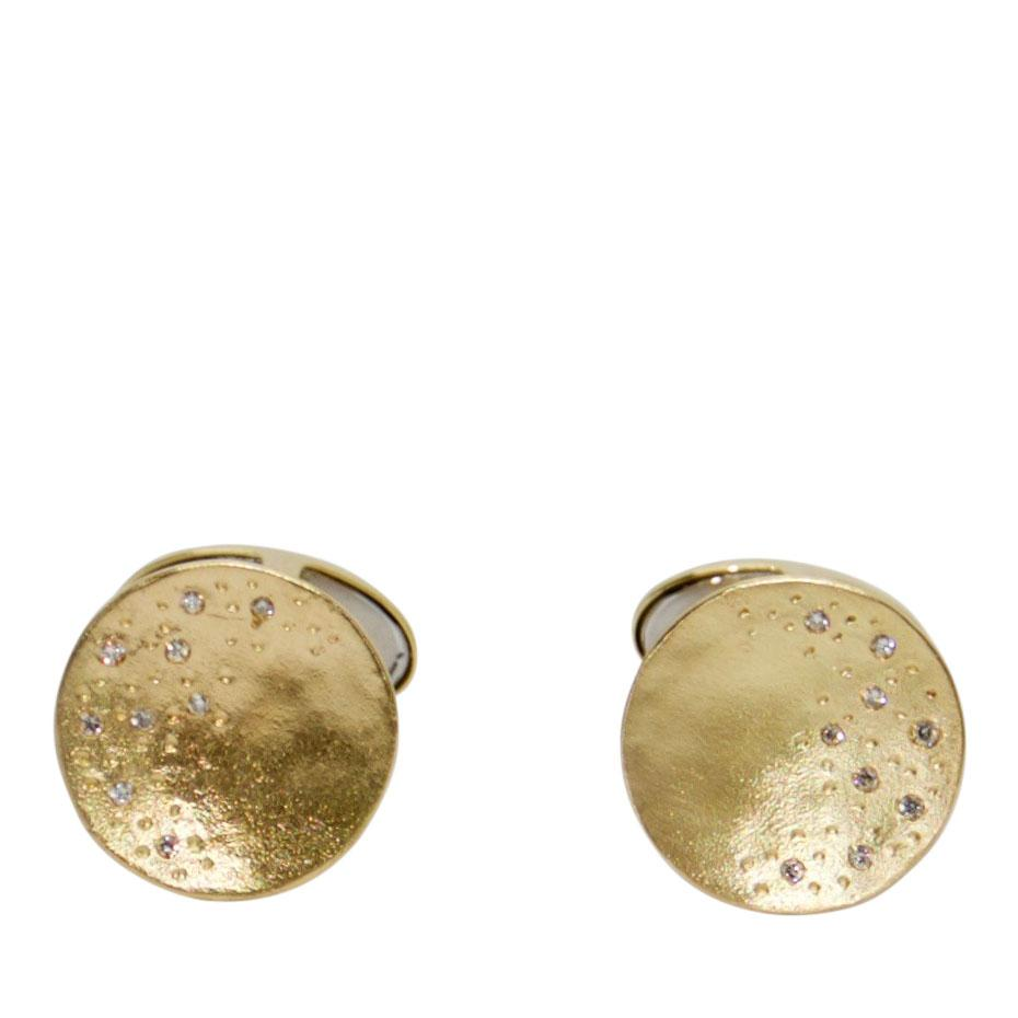 Links of London Gold Watch Over Me Moon Cufflinks with Diamonds