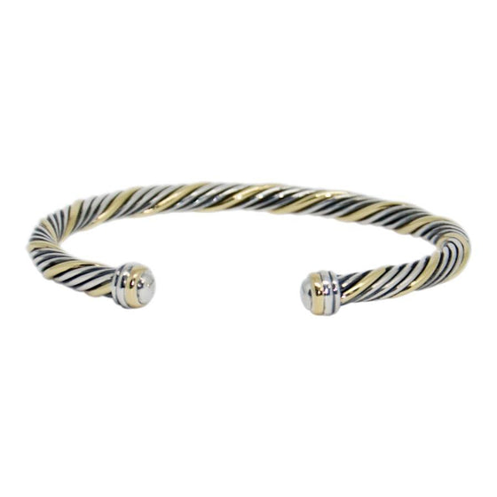 David Yurman Two-Tone Cable Cuff Bracelet - Bracelets