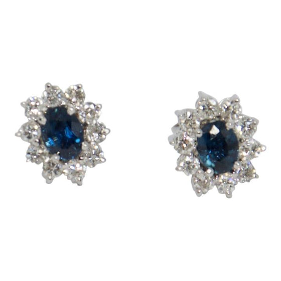 Blue Sapphire and Diamond Stud Earrings Earrings Miscellaneous
