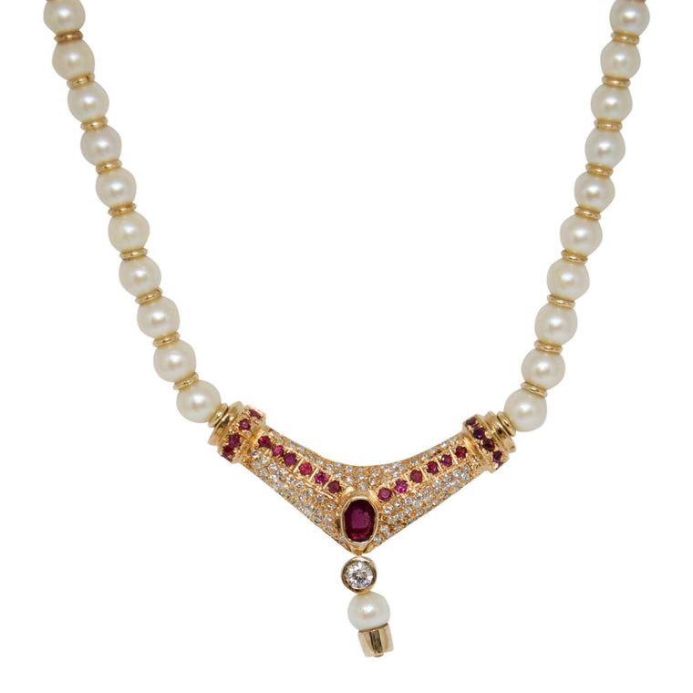 Pearl Necklace with Ruby and Diamond Pendant